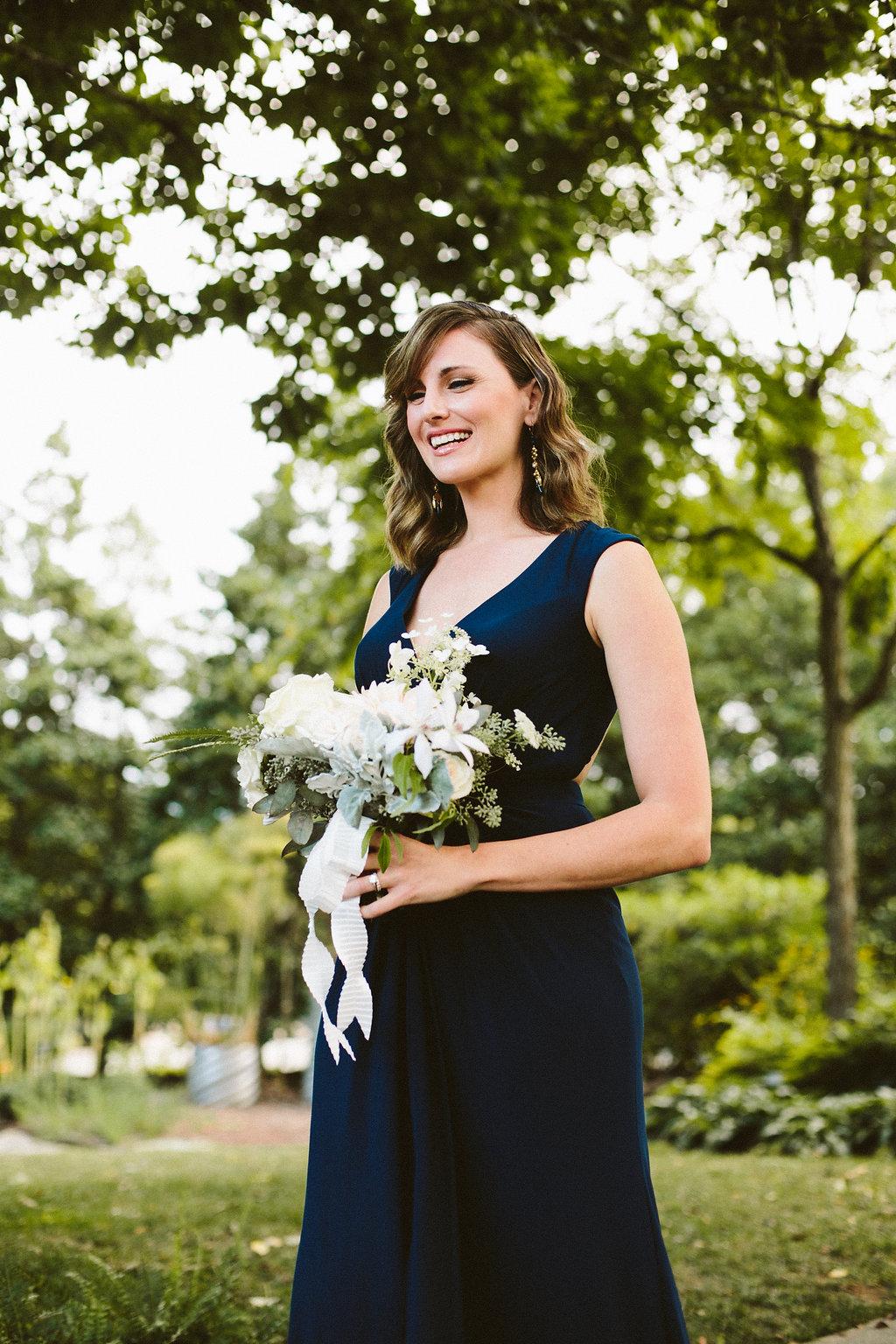 Bridemaid Bouquet   Philosophy Flowers   Blue Bridesmaid Dress