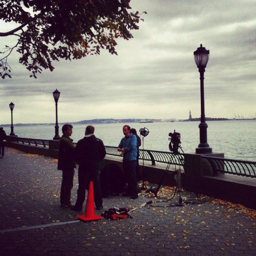 The Weather Channel setting up.