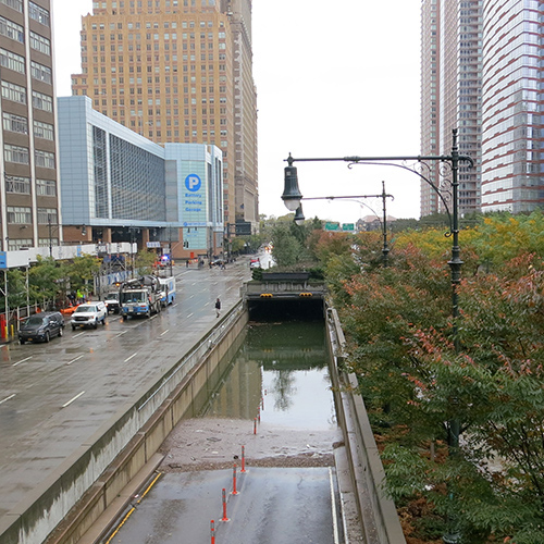 Brooklyn / Battery underpass flooded day after storm.