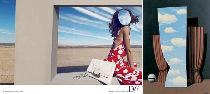 Art As Fashion Muse: DVF Ad Spring 2012 & René Magritte's Mona Lisa.  Graphic by Kari Hansbarger.