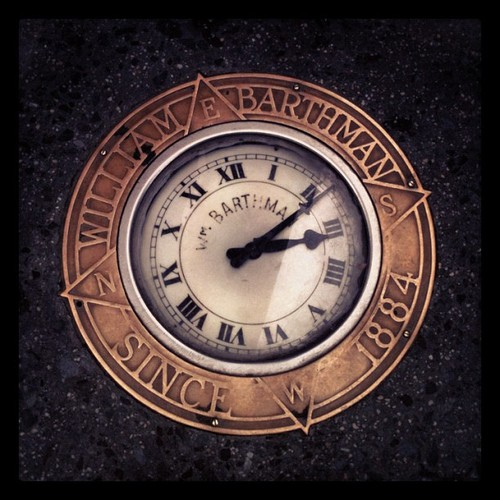 Sidewalk clock, corner of Broadway & Maiden Lane, NYC, by Kari Hansbarger.