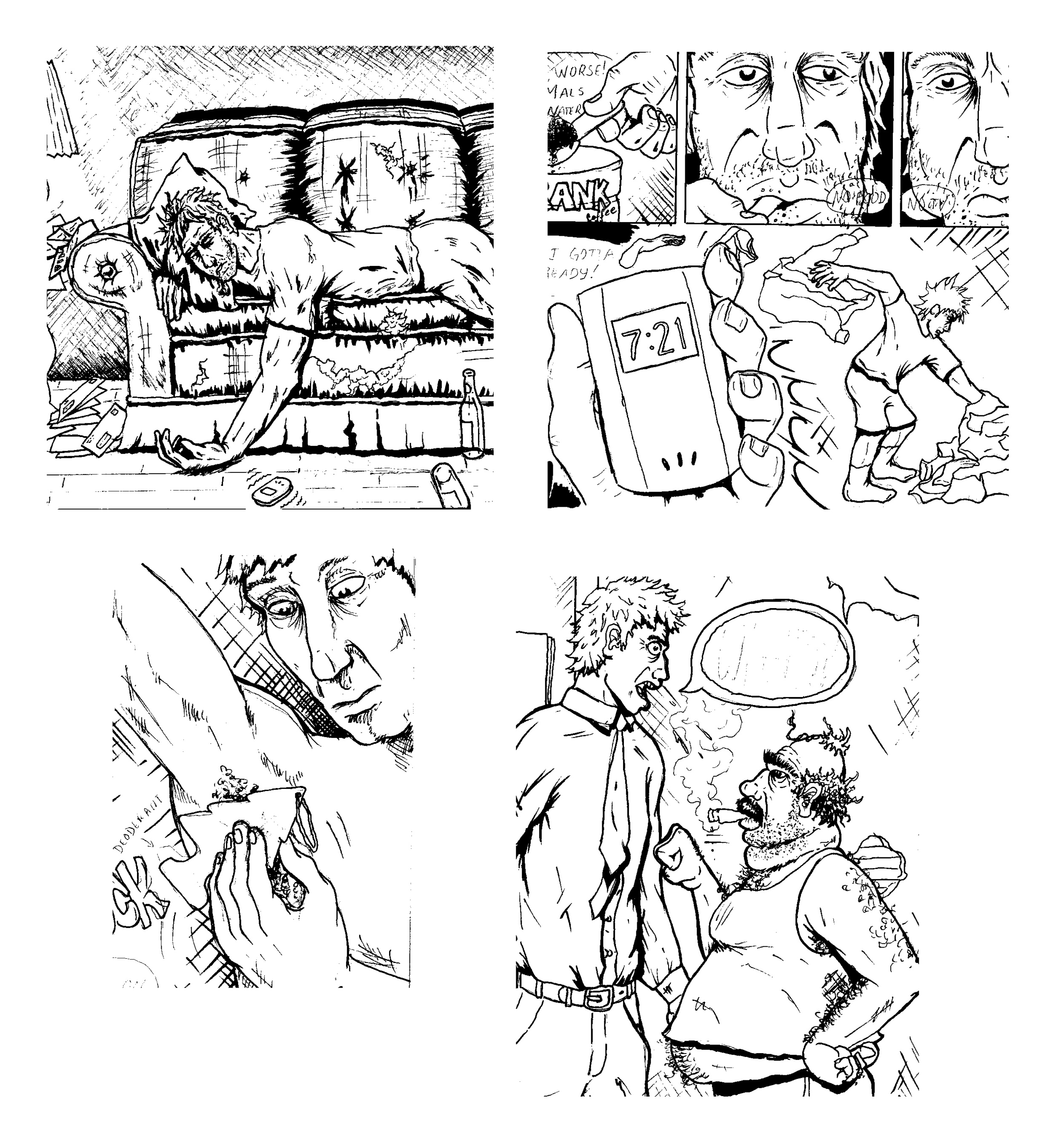 Here are some frames from the first few pages of my upcoming book  Career Suicide.