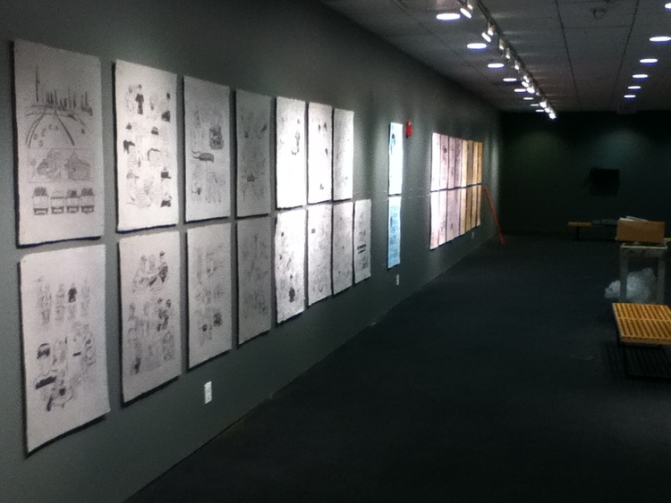 Here is Blue Collar Black Sheep being installed. The 44 prints on handmade paper took up a 60 foot straetch of wall in the Arcade Gallery on Michigan Ave in Chicago, IL.