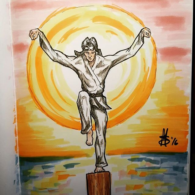 #Inktober Day 10. The word was #jump so here's the #Karate #Kid #art #artofinstagram #ink #drawing #crane #kick #copic