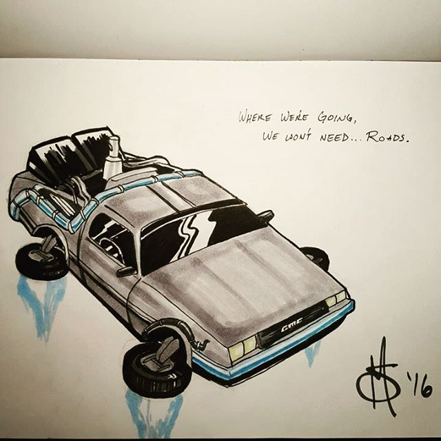 #Inktober Day 11. The word was #transport so here's the #delorean from #backtothefuture . Where we're going we won't need...roads. #ink #art #artofinstagram #car #future #comics #cartoon #mcfly #doc