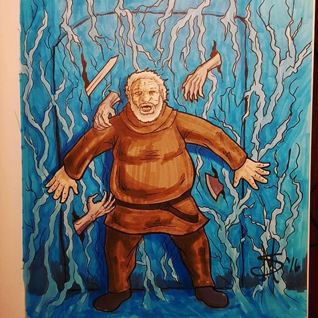 #inktober Day 13. The word was #scared so here's #hodor holding the door. #inktober2016 #ink #drawing #draw #copic #cartoon #comic #GOT #GameOfThrones #holdthedoor