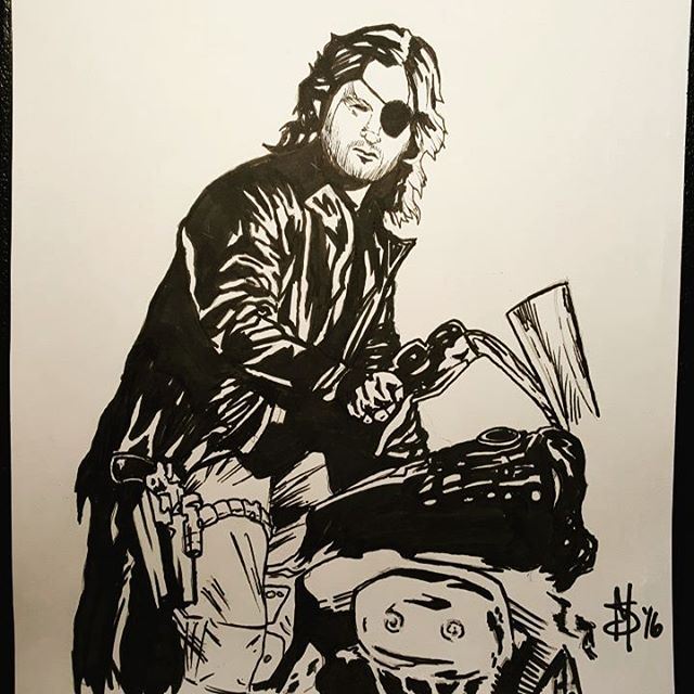 "#Inktober Day 20. The word was #Escape so here's #Snake from Escape from #NewYork...and #LA. ""I don't give a fuck about your war or your president. "" #ink #art #artofinstagram #snakeplissken #blackandwhite #b&w #drawing #sketch #copic #kurt #kurtrussell #chicago #chicagoartist #motorcycle #harley"