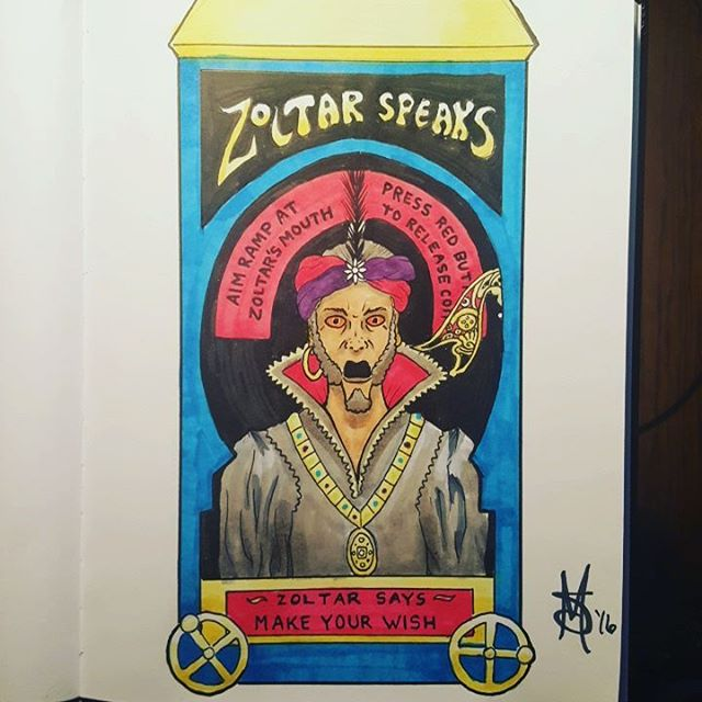 #inktober Day 21. The word of the day is #BIG so here's #Zoltar from the movie BIG. Zoltar says make your wish...#art #artofinstagram #inktober2016 #drawing #comics #cartoon #ink #fortuneteller #chicagoartist #artist