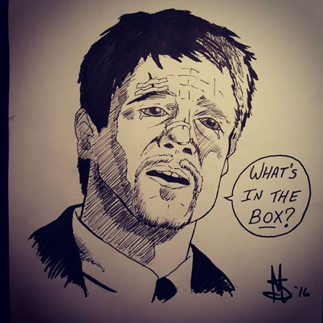 "#inktober Day 26. The word of the day is #box so here's Detective Mills from #Seven asking ""What's in the BOX?"" #wrath #sevendeadlysins #ink #bradpitt #drawing #sketch #art #artofinstagram #halloween #inktober2016 #movies #scary"