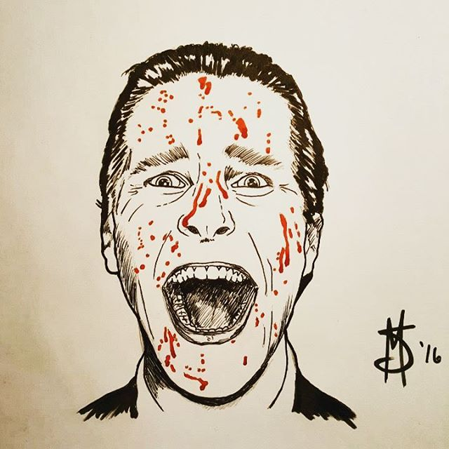 "#Inktober Day 27. The word of the day was #creepy so here's Patrick Bateman from #AmericanPsycho. ""I need to return some video tapes."" #ink #drawing #art #artofinstagram #comics #cartoon #american #chicagoartist #psycho #halloween #inktober2016 #illustration"