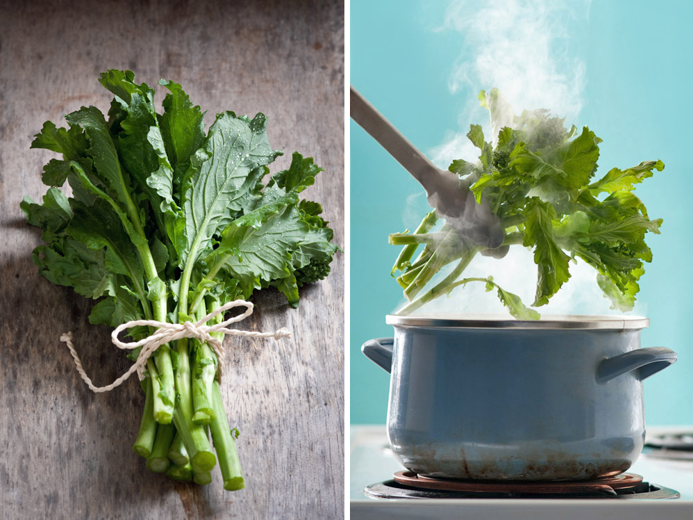 fresh bunch of rapini greens and steaming pot