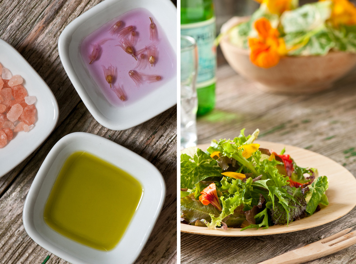 chive blossom vinegar salad dressing and salad with edible flowers
