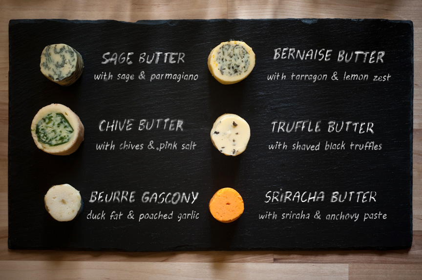 recipes for compound butters on slate