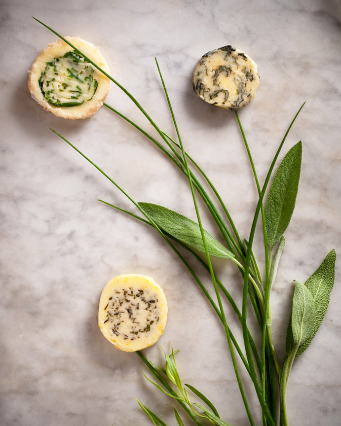Trio of Herb Butters: Sage & Parmagiano, Salted Chive, and Bearnaise Butter