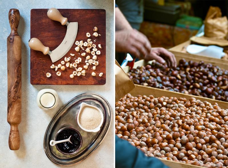 cutting board, hazelnuts, mezzaluna