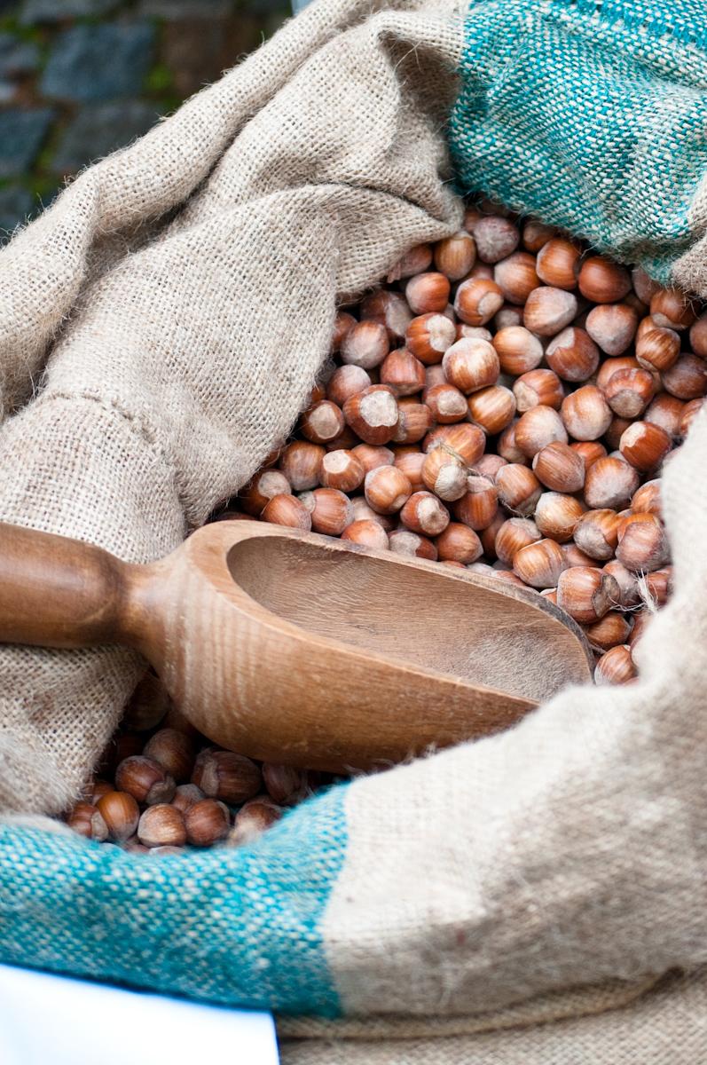 burlap bag of fresh hazelnuts Italian mercato