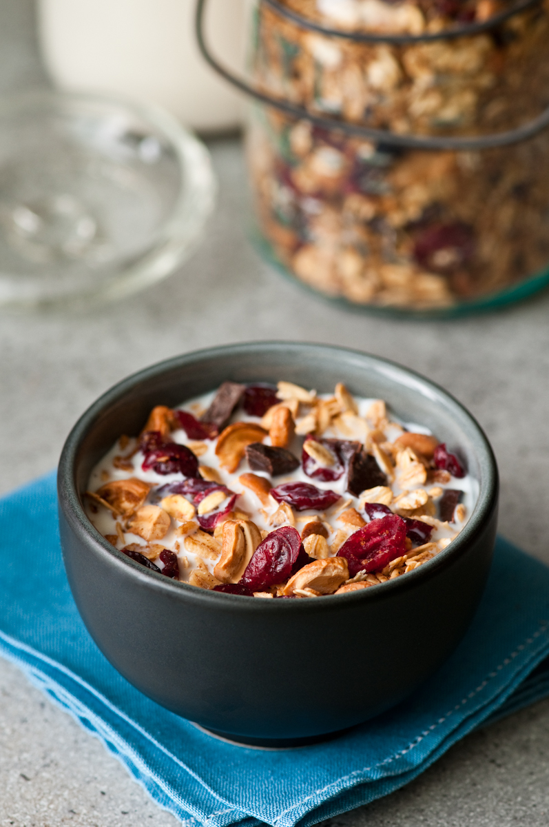homemade granola with cranberries, cashews, dark chocolate, oats, cardamom