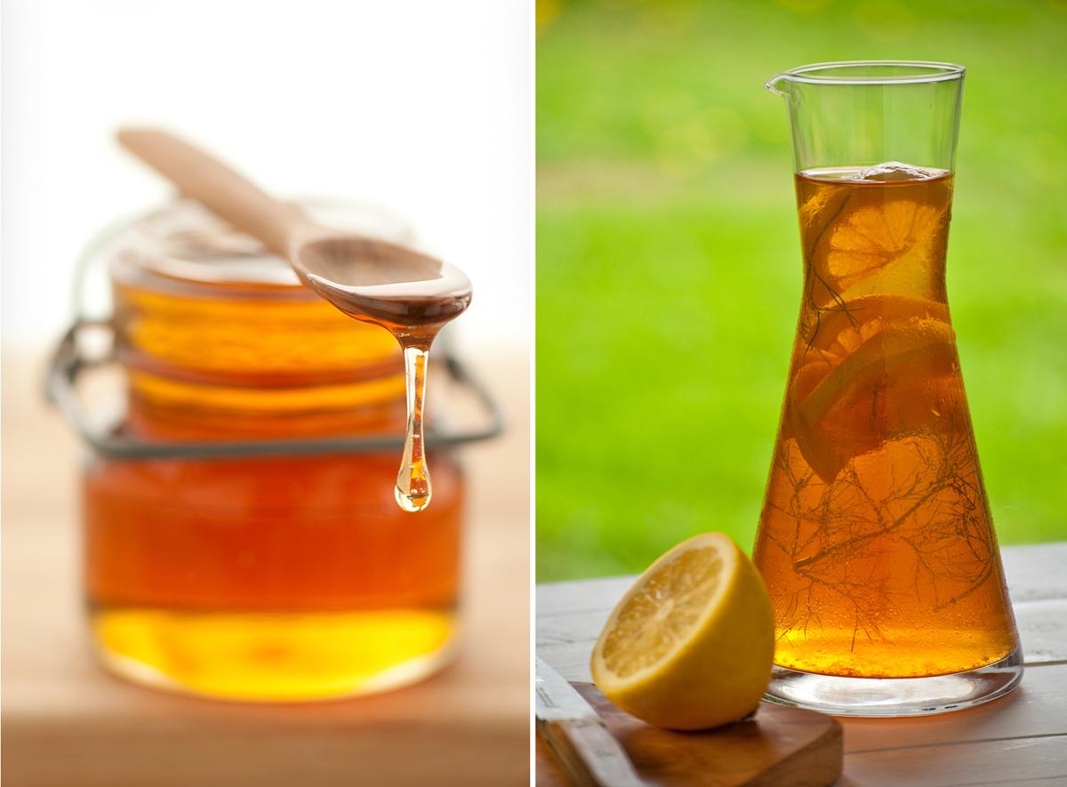 honey jar and iced tea carafe