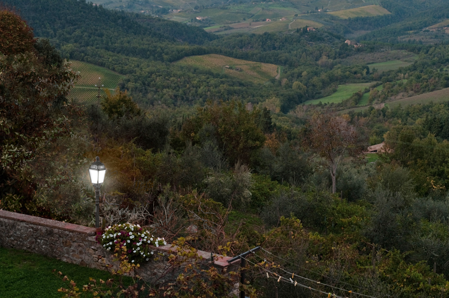 Our view at dusk, the hills of Chianti.