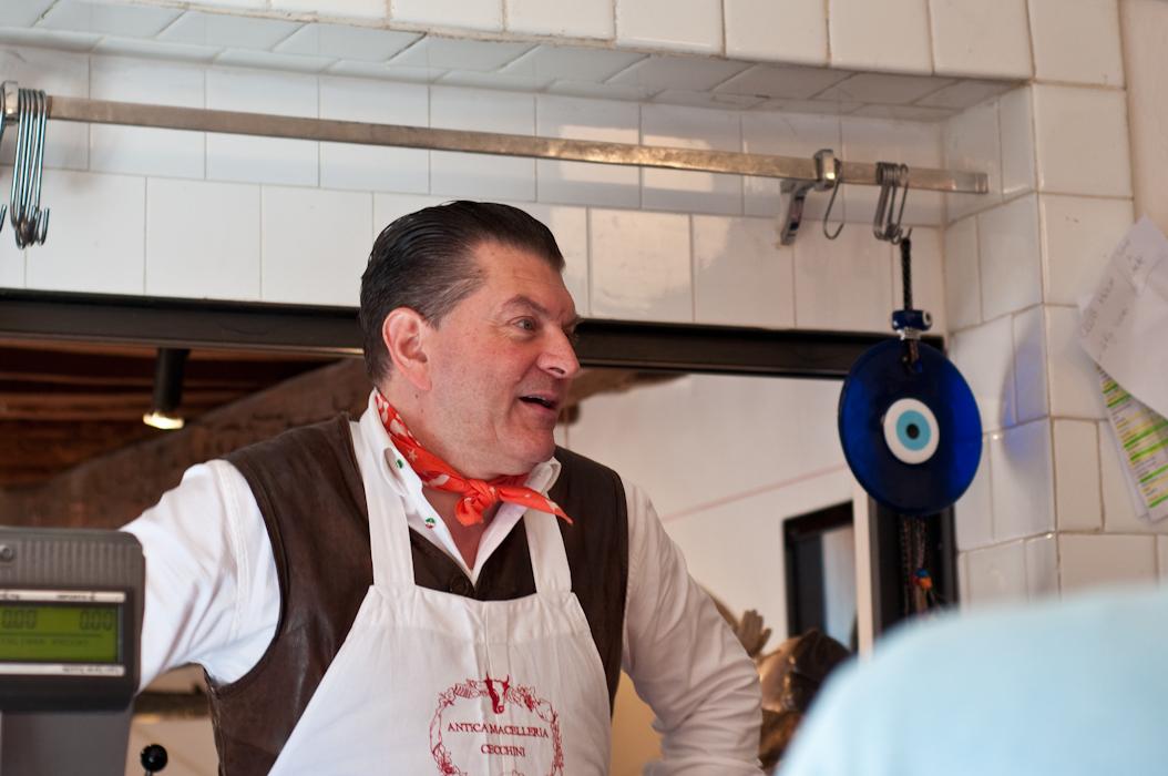 Dario Cecchini charms the customers.