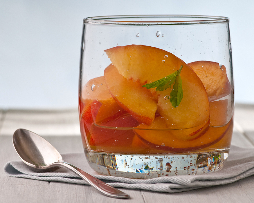 fresh peaches in Cocchi Americano