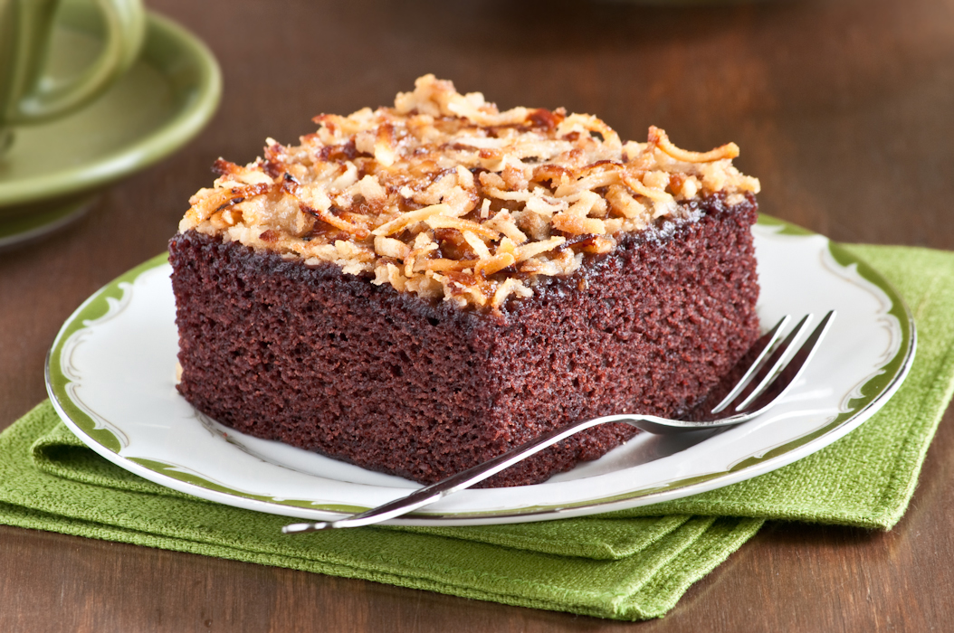 chocolate cake with coconut topping