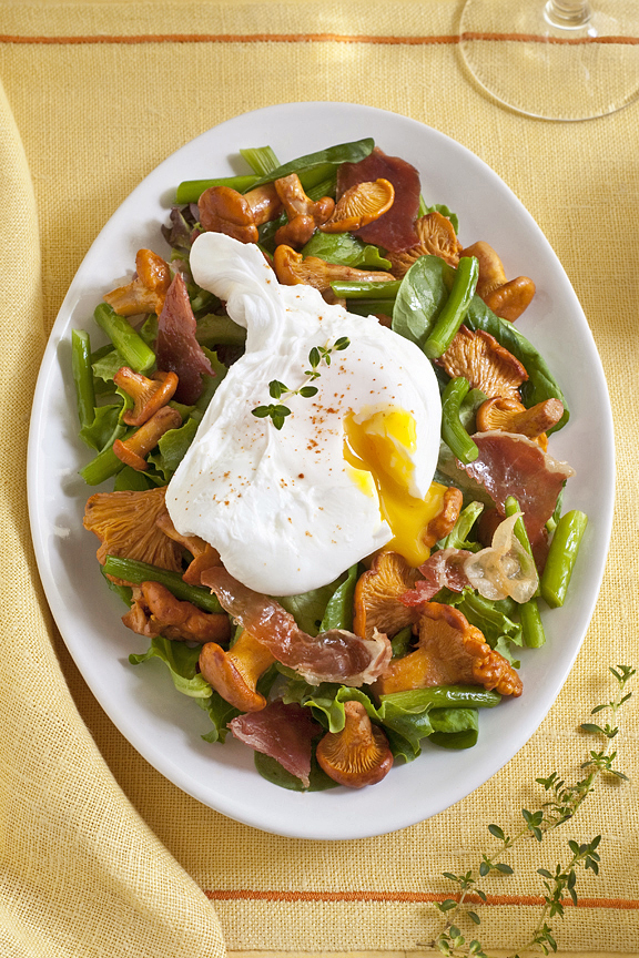 roasted mushrooms and garlic scapes with poached egg
