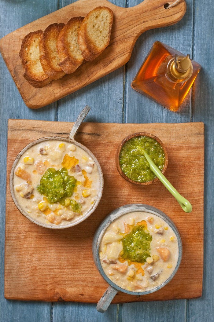 corn chowder with garlic scape pesto