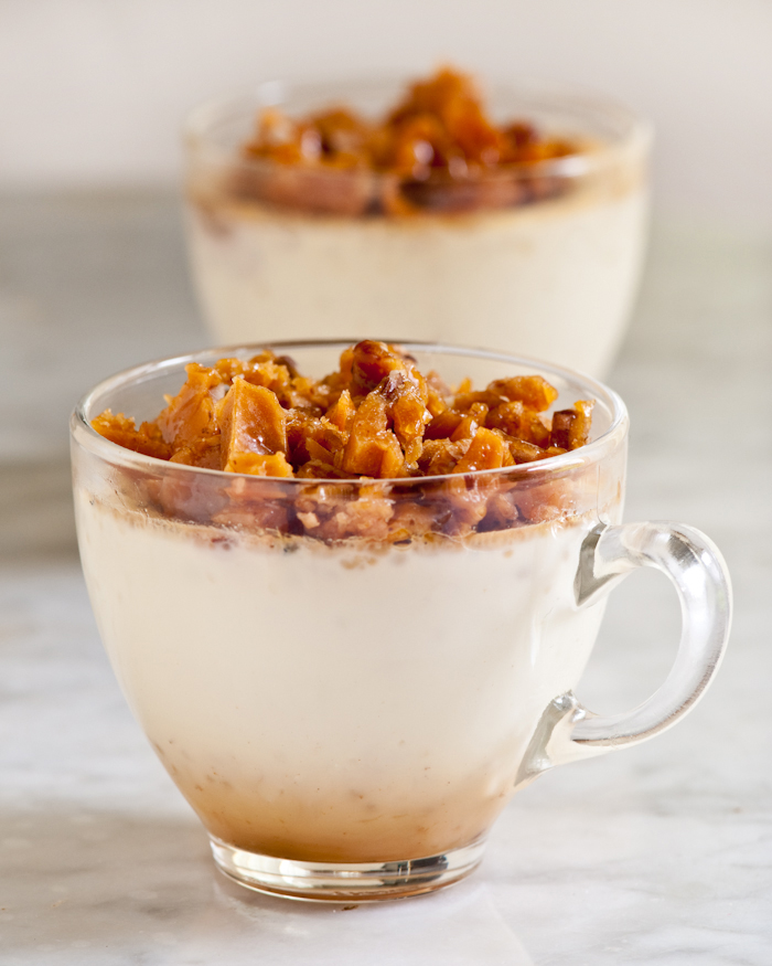 A layer of brittle baked beneath the custard results in a pool of caramel syrup in the bottom of the cup.