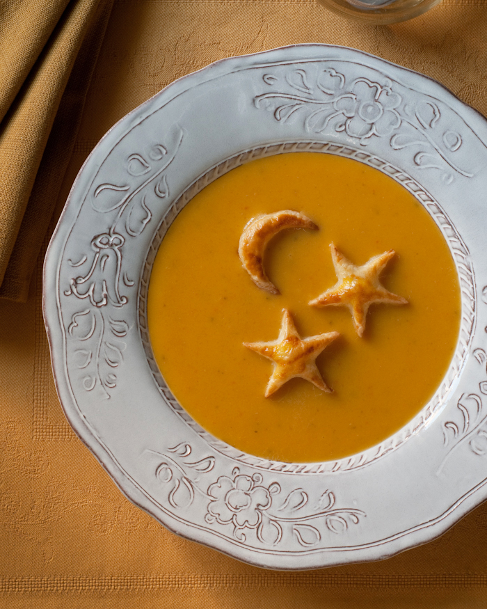 Coconut squash bisque with puff pastry garnish
