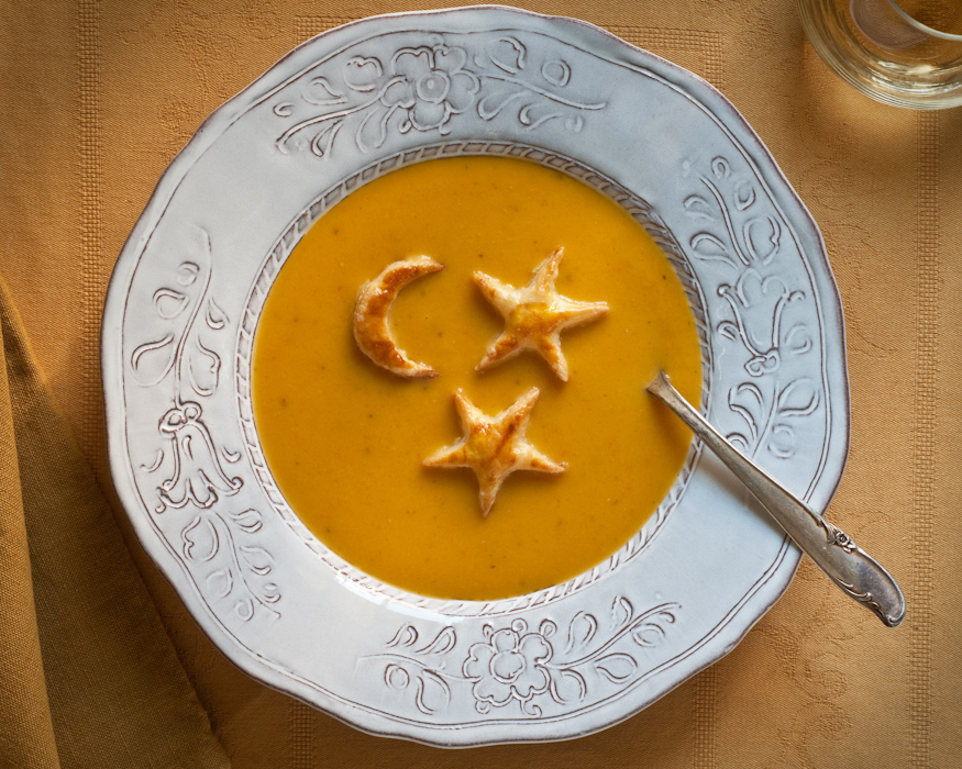 squash soup with stars and moon