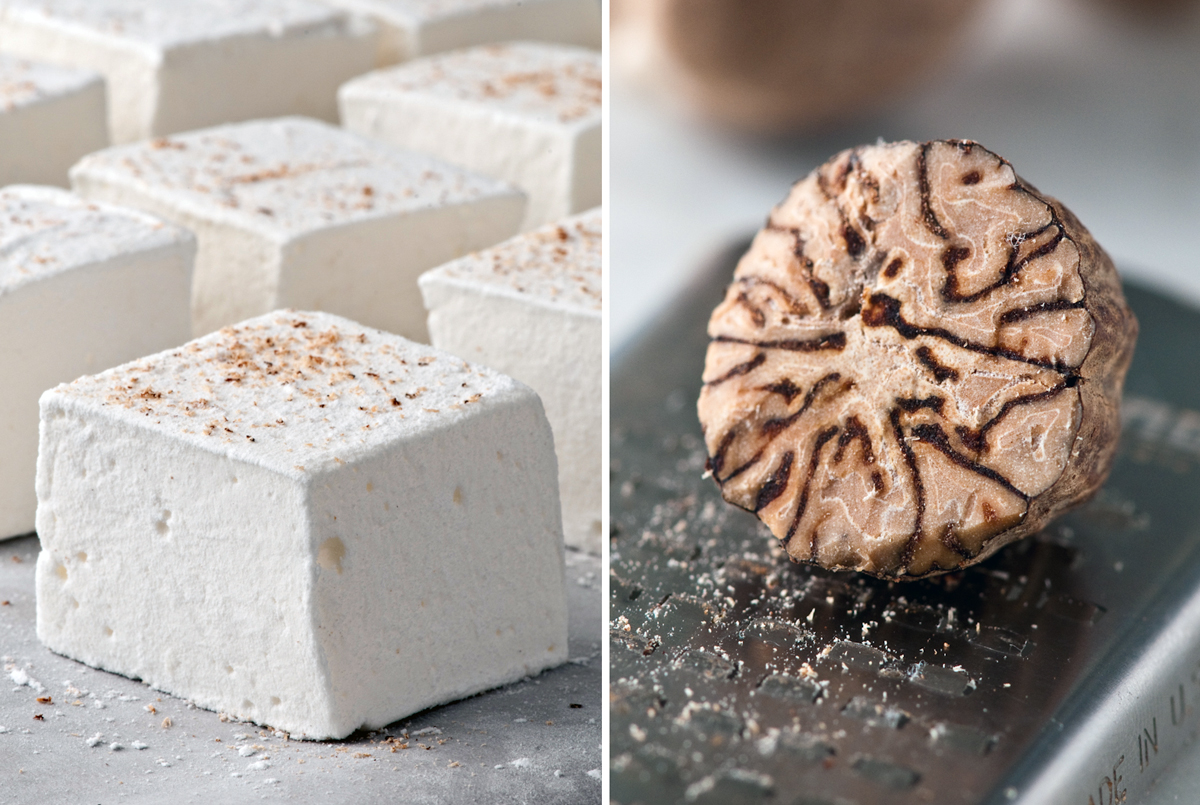 Eggnog Marshmallows with freshly grated nutmeg