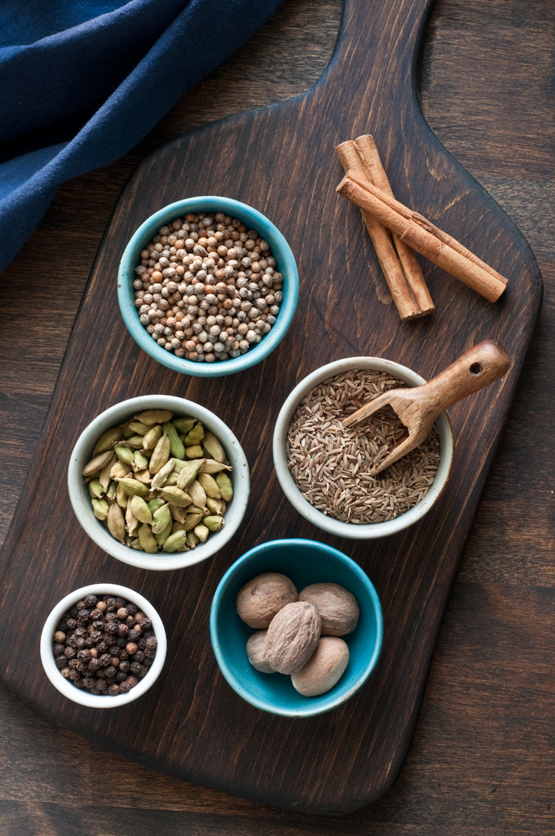 Spices: cinnamon, coriander, cumin, cardamom, nutmeg, and peppercorns