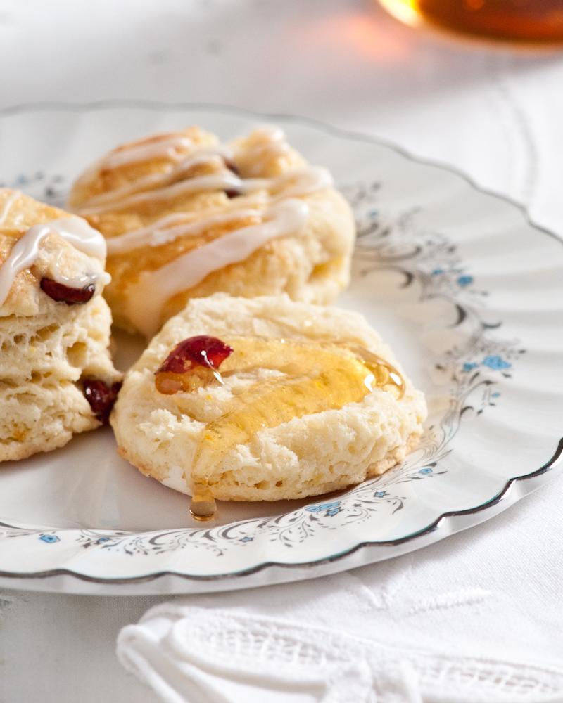 drizzle of honey on fresh baked scone