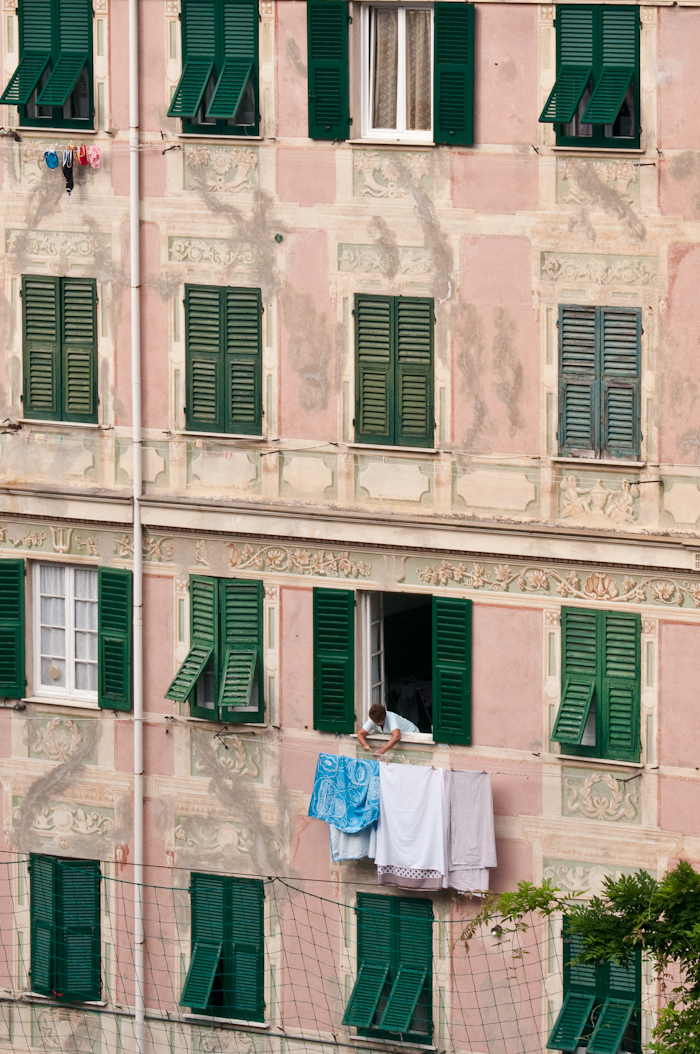 Most of the buildings in Camogli are decorated with elaborate trompe l'oeil murals.
