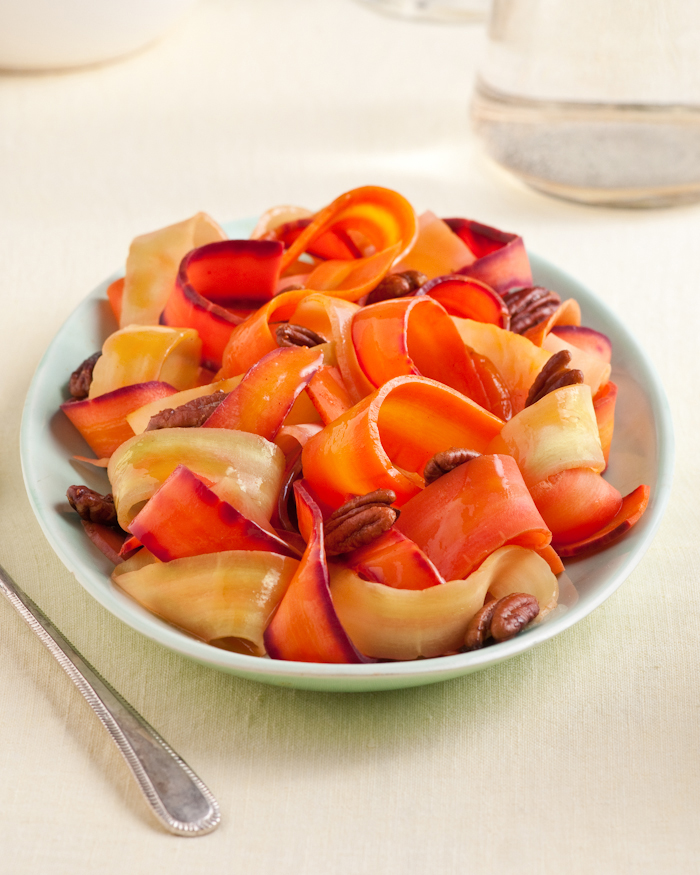 rainbow carrots with spicy pecans