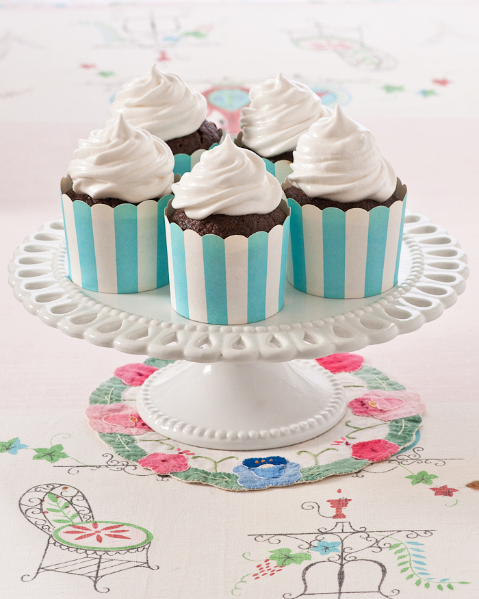 old fashioned chocolate cupcakes with boiled frosting