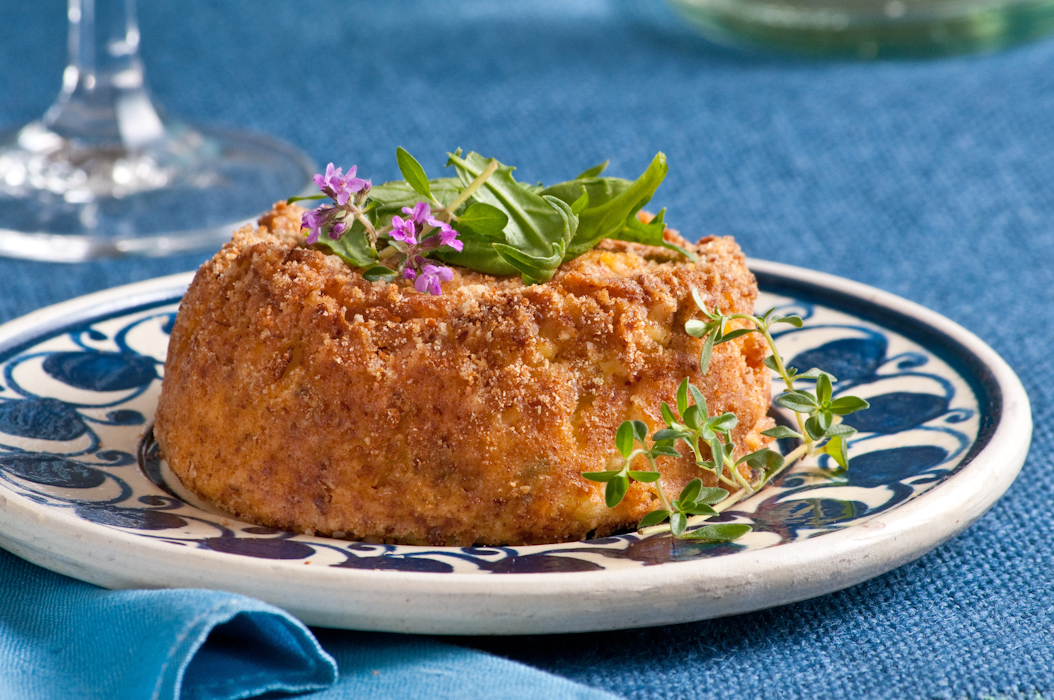 nut crusted goat cheese souffle with fresh thyme