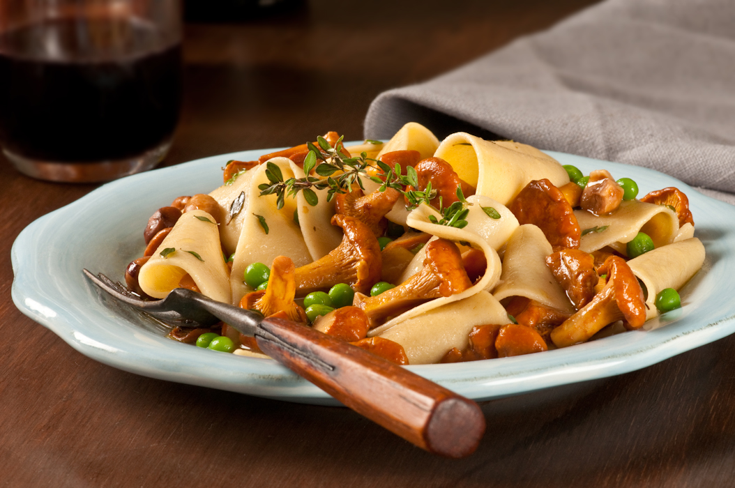 toasted pappardelle with wild mushrooms in marsala reduction
