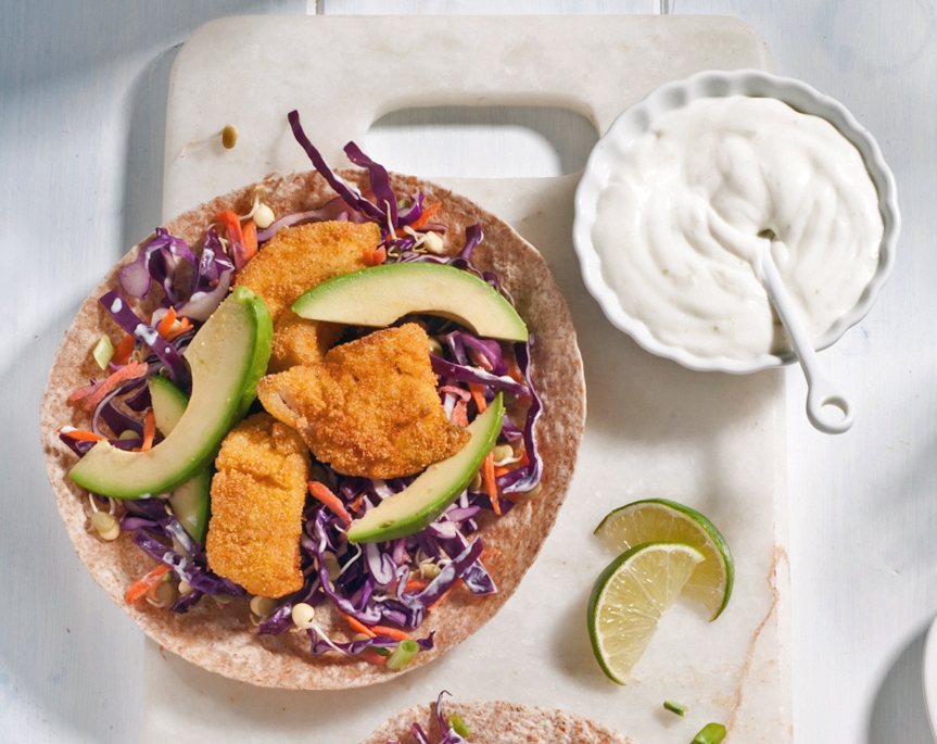 fish tacos with purple cabbage slaw