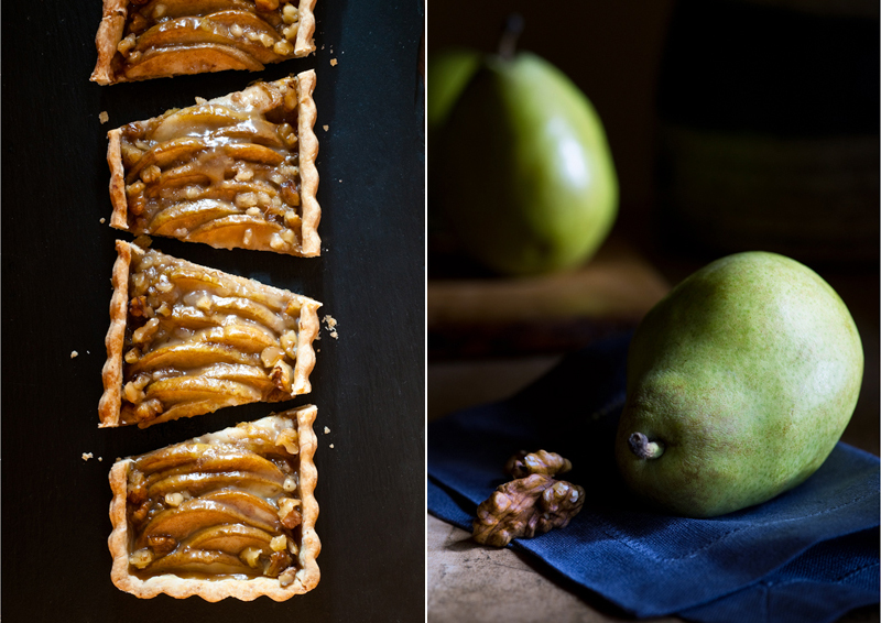 pear tart with crystalized ginger and walnuts