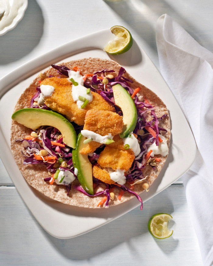 spicy fish taco recipe with homemade purple cabbage slaw
