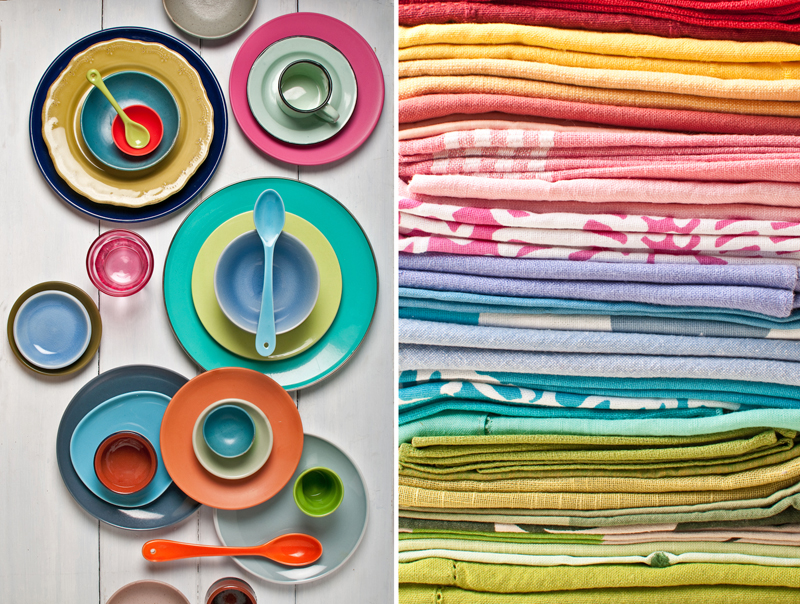 food styling props and linens bright colours