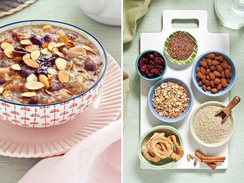toasted oat quinoa porridge with fruit and nuts
