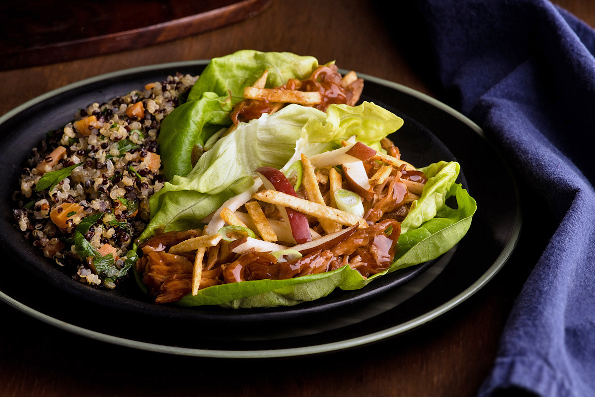BBQ pulled chicken lettuce wraps with apples and hickory sticks