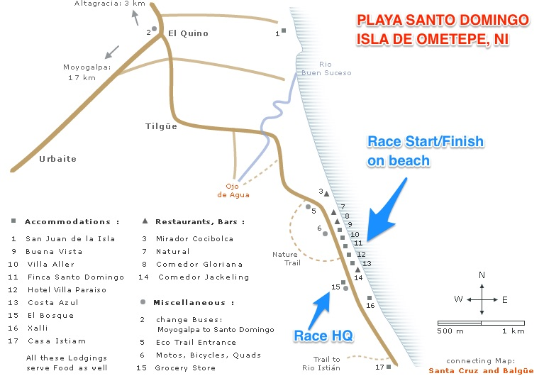 This Map from  Ometepe Travel Guide  shows the majority of places in the small village of Santo Domingo and the location of the Start/Finish Area and Race HQ.