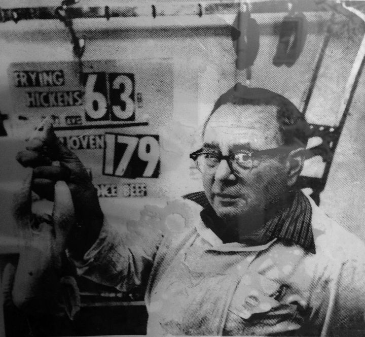 """My grandfather in his Butcher and Grocery Store in Dobbs Ferry, NY. His Nickname was  """"Barney"""""""