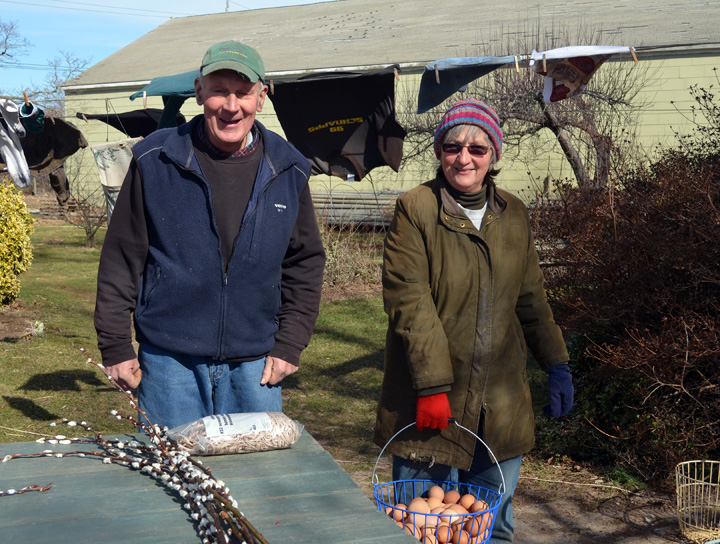 David and Liz Wines, owners of Ty Llwyd Farm with their basket of farm fresh eggs.
