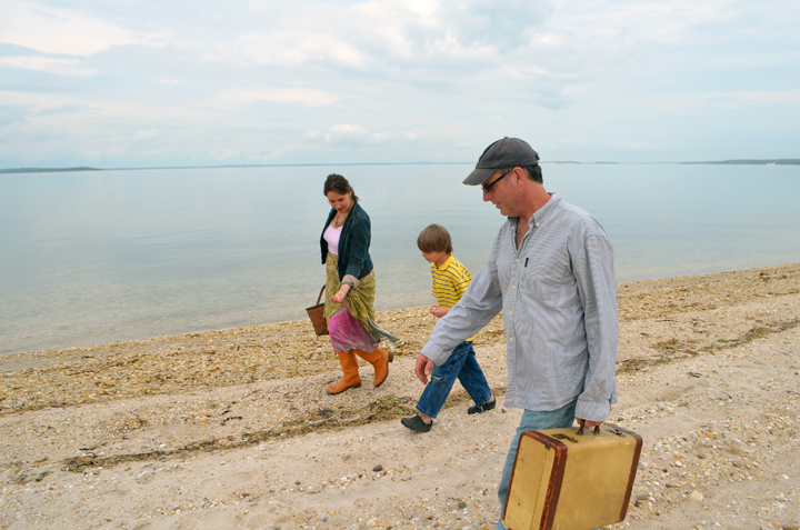 Deborah, Chris and their Son Griffin looking for sea glass for their gift sets.