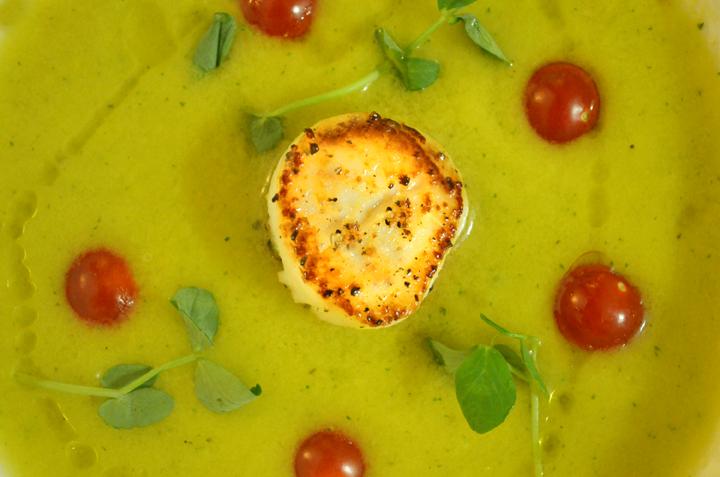 Seared Scallop with Yellow Tomato Gazpacho